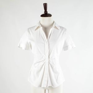 THEORY – White Short Sleeve Cotton Blouse - Size L